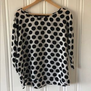 Zara white and black polka 3/4 blouse